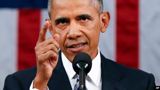 """President Barack Obama, delivering his State of the Union address before a joint session of Congress on Capitol Hill in Washington, urged Americans to """"reject any politics that target people because of race or religion,"""" Jan. 12, 2016."""