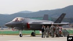 A U.S. F-35 stealth fighter is seen during the press day of the 2017 Seoul International Aerospace and Defense Exhibition at Seoul Airport in Seongnam, South Korea, Oct. 16, 2017.