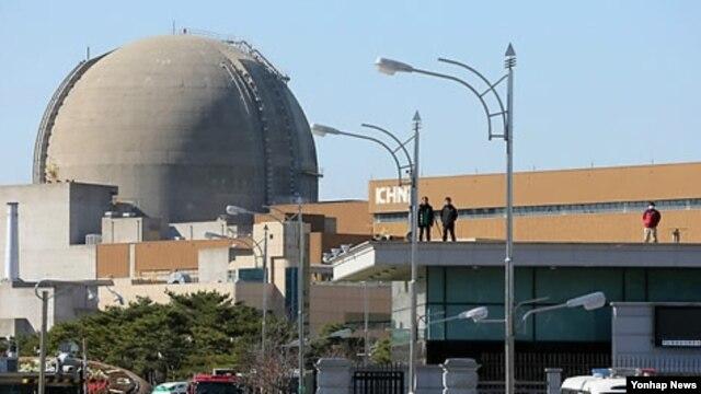 15일 한국 전라남도 영광의 원자력발전소.