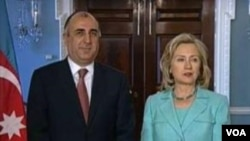 Azerbaijani Foreign Minister Elmar Mammadyarov and U.S. Secretary of State Hillary Clinton before their meeting.