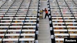 Centro de acopio de Amazon. La economía estadounidense creció 1,7% en el último trimestre.