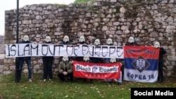 """""""Islam Out Of Europe"""" – baner aktivista grupe """"Krv i čast"""" Izvor: blog """"Krv i čast"""" (28serbia.blogspot.com)"""
