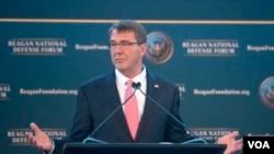 美國國防部長卡特在里根防衛論壇發表的演講。(美國國防部)