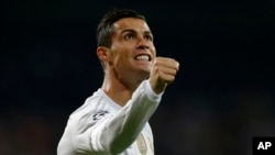 A penalty kick by Cristiano Ronaldo hit a Canadian woman in the face recently. She recorded the shot on her phone.