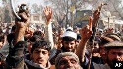 Afegãos manifestam-se contra os Estados Unidos