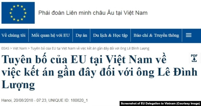 Tuyên bố của Phái đoàn EU ở Việt Nam kêu gọi chính quyền Hà Nội thả ngay lập tức nhà hoạt động Lê Đình Lượng và các tù nhân lương tâm khác đang bị giam giữ. (EU Delegation to Vietnam)