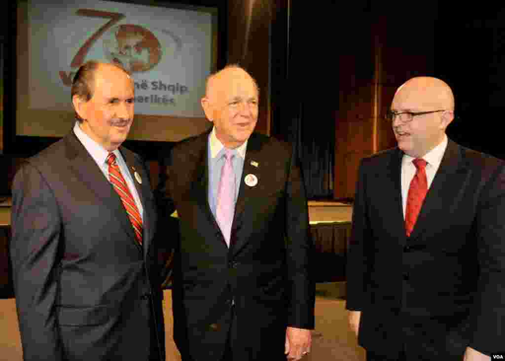 VOA's Eurasia Division Director Elez Biberaj, DAS for European and Eurasia Affairs Philip Reeker and former Chairman of the U.S. Helsinki Commission, Senator Dennis DeConcini