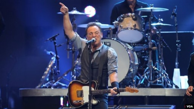 Bruce Springsteen performing at the 12-12-12 Concert for Sandy Relief at Madison Square Garden