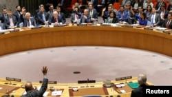 Le Conseil de sécurité de l'ONU, à New York, 14 avril 2018.