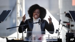Actress Viola Davis speaks at a Women's March against sexual violence and the policies of the Trump administration, Jan. 20, 2018, in Los Angeles.