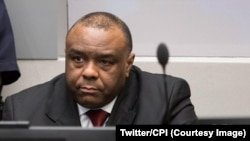 FILE - Former Congolese Vice President Jean-Pierre Bemba has been acquitted on appeal of war crimes and crimes against humanity committed in the Central African Republic at the International Criminal Court (ICC), The Hague, 8 June 2018. (Twitter / ICC)