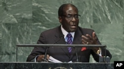 President Robert Mugabe addressing the United Nations General Assembly.
