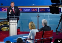 FILE - Republican presidential candidate, New Jersey Gov. Chris Christie responds to a question during the Republican presidential debate, Sept. 16, 2015.