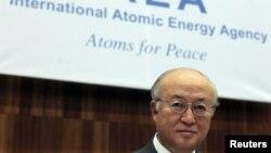 29일 오스트리아 빈에서 열린 IAEA 이사회에 참석한 아마노 사무총장.