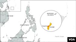 Bản đồ đảo Guam ở Thái Bình Dương.