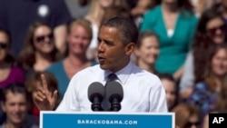 奥巴马总统9月13日在科罗拉多州的一次竞选造势集会上讲话