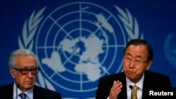 联合国协调员卜拉希米(左)和联合国秘书长潘基文。