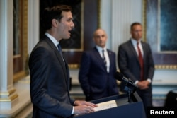 FILE - White House senior adviser Jared Kushner welcomes technology company leaders to a summit of the American Technology Council at the Eisenhower Executive Office Building in Washington, June 19, 2017.