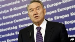 President of Kazakhstan Nursultan Nazarbayev speaks at European Union headquarters in Brussels, Oct 26, 2010.