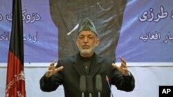 17일 카불에서 연설한 하미드 카르자이 아프간 대통령.