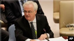 Vitaly Churkin, Russia's Ambassador to the United Nations, speaks during a Security Council Meeting (file)