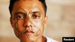 Pandillero preso en el penal de Izalco, en el occidente de El Salvador.