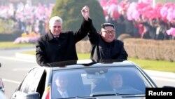 Lãnh đạo Triều Tiên Kim Jong Un và Chủ tịch Cuba Miguel Diaz-Canel tại Bình Nhưỡng ngày 5/11/2018.