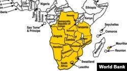Mapa dos países da SADC