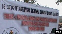 Abanye babakade besemkhosini wokunanza i-16 Days of Activism Against Gender-Based Violence. (VOA)