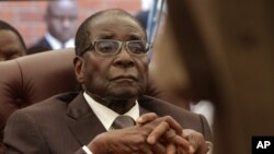 FILE - Zimbabwean President Robert Mugabe attends the funeral of his sister Bridget, in Zvimba, Zimbabwe, Jan. 21, 2014.