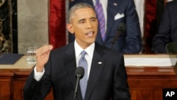 President Barack Obama gives his State of the Union address before a joint session of Congress on Capitol Hill in Washington, Jan. 20, 2015.