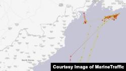 카트린 호의 지난해 4월부터 6월 사이 항적. 공해상에 떠 있다 부산 항 인근으로 기수를 돌린 모습을 볼 수 있다. MarineTraffic 제공.