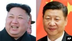 朝鲜领导人金正恩(左)和中国国家主席习近平