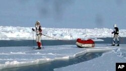 There was so little ice that explorers were forced to swim across open patches of water. They say, arctic explorers in the future will need boats rather than sleds