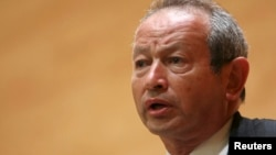 Orascom Telecom chairman Naguib Sawiris speaks during a conference in Beirut. (File)