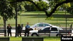 Sehemu iliyofungwa ya uzio wa White House, Washington DC.