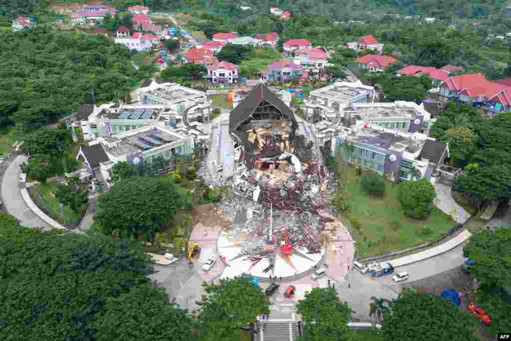 This aerial picture shows the Governor's office building damaged following a 6.2 magnitude earthquake in Mamuju, Indonesia.