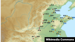 中國南水北調工程示意圖 (紅點為中線工程; 黃點為東線工程)