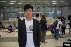 反對普教中的張同學認為,普教中是要改變香港新一代的語言文化。美國之音湯惠芸攝)