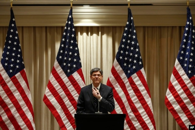 US Treasury Secretary Jacob Lew holds a press conference after sessions of the G20 Finance Ministers and Central Bank Governors Meeting at the Pudong Shangri-la Hotel in Shanghai, Feb. 27, 2016.