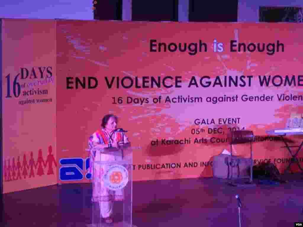 کراچی : جنسی بنیادوں پر خواتین پر ہونےوالے تشدد کو روکنے کی آگاہی کے 16 دن کی تقریب