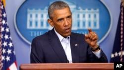 Predsednik Obama tokom konferencije za novinare u Beloj kući 18. avgusta 2014.