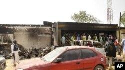Hoton wani gini da ya kone sakamakon hare haren da kungiyar Boko Haram ta kai a Kano.