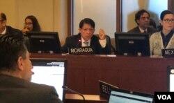 El canciller de Nicaragua, Denis Moncada, rechazó la sesión extraordinaria convocada por la OEA, a instancias de su secretario general, Luis Almagro, el viernes 11 de enero de 2019.