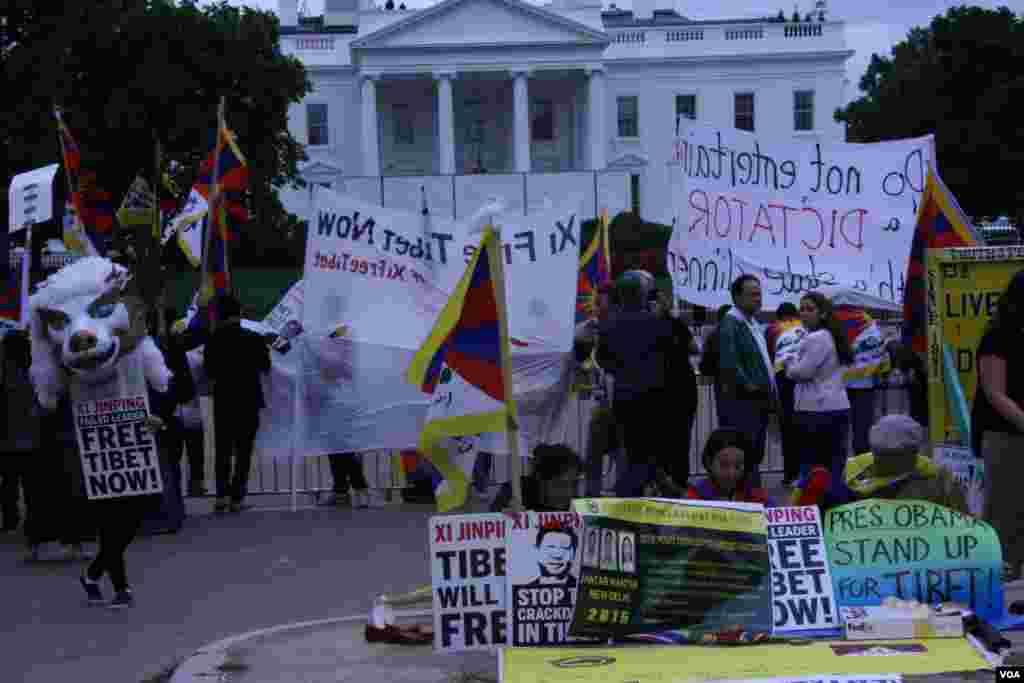 抗議人士在拉斐特廣場(美國之音鐘辰芳拍攝)