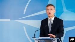 20일 벨기에 브뤼셀에서 열린 나토-러시아 위원회 회의 후 옌스 슈톨텐베르크 나토 사무총장이 기자회견을 가졌다.