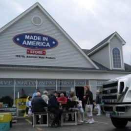 Tourists stop by the Made in America store in Elma, New York.