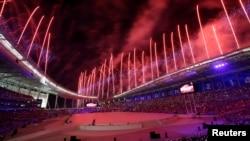 仁川亚运会开幕式上烟花怒放(2014年9月19日)