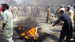 21일 파키스탄 라왈핀디에서 벌어진 시위.