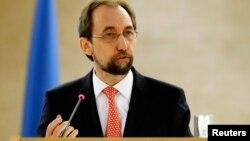 Le Haut-Commissaire de l'ONU aux droits de l'Homme Zeid Ra'ad Al Hussein lors d'une cession à l'ONU le 29 février 2016.